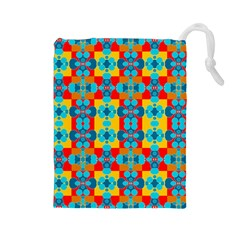 Pop Art Abstract Design Pattern Drawstring Pouches (Large)