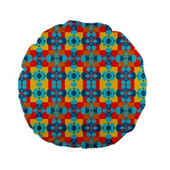 Pop Art Abstract Design Pattern Standard 15  Premium Flano Round Cushions