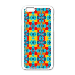 Pop Art Abstract Design Pattern Apple iPhone 6/6S White Enamel Case