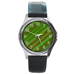 Stripes Course Texture Background Round Metal Watch