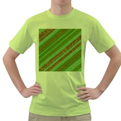 Stripes Course Texture Background Green T-Shirt