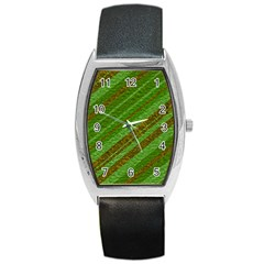 Stripes Course Texture Background Barrel Style Metal Watch