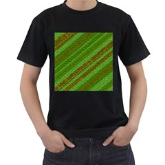 Stripes Course Texture Background Men s T-Shirt (Black) (Two Sided)