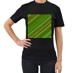 Stripes Course Texture Background Women s T-Shirt (Black) (Two Sided)