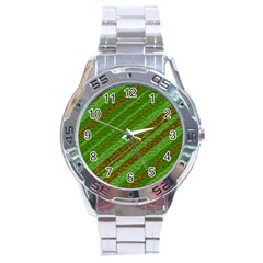 Stripes Course Texture Background Stainless Steel Analogue Watch