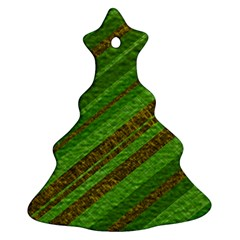 Stripes Course Texture Background Christmas Tree Ornament (2 Sides)