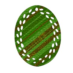 Stripes Course Texture Background Oval Filigree Ornament (2-Side)