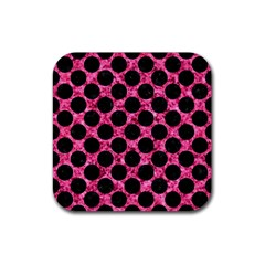 CIR2 BK-PK MARBLE (R) Rubber Coaster (Square)