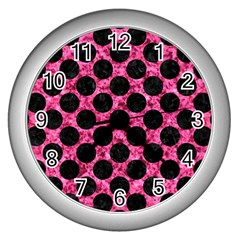 CIR2 BK-PK MARBLE (R) Wall Clocks (Silver)
