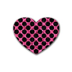 CIR2 BK-PK MARBLE (R) Heart Coaster (4 pack)