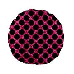 CIR2 BK-PK MARBLE (R) Standard 15  Premium Flano Round Cushions