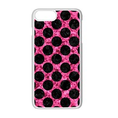 Circles2 Black Marble & Pink Marble (r) Apple Iphone 7 Plus White Seamless Case