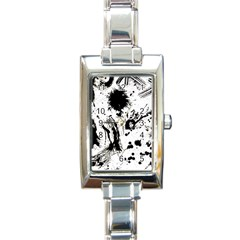 Pattern Color Painting Dab Black Rectangle Italian Charm Watch