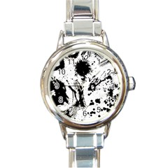 Pattern Color Painting Dab Black Round Italian Charm Watch