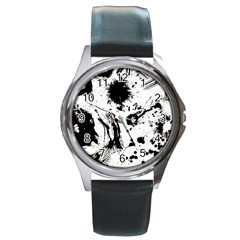 Pattern Color Painting Dab Black Round Metal Watch