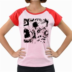 Pattern Color Painting Dab Black Women s Cap Sleeve T-Shirt