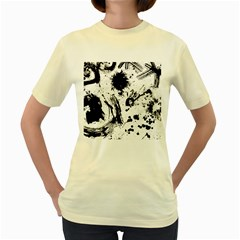 Pattern Color Painting Dab Black Women s Yellow T-Shirt