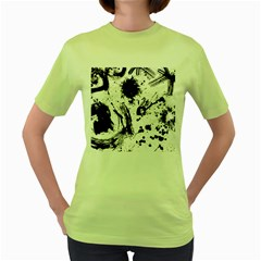 Pattern Color Painting Dab Black Women s Green T-Shirt