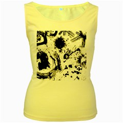 Pattern Color Painting Dab Black Women s Yellow Tank Top
