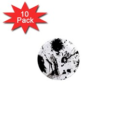 Pattern Color Painting Dab Black 1  Mini Magnet (10 pack)