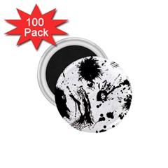 Pattern Color Painting Dab Black 1.75  Magnets (100 pack)
