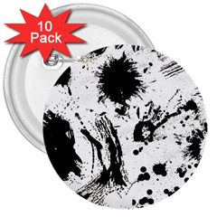 Pattern Color Painting Dab Black 3  Buttons (10 pack)