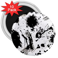 Pattern Color Painting Dab Black 3  Magnets (10 pack)