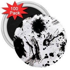 Pattern Color Painting Dab Black 3  Magnets (100 pack)