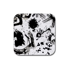 Pattern Color Painting Dab Black Rubber Coaster (Square)