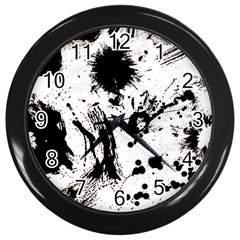 Pattern Color Painting Dab Black Wall Clocks (Black)
