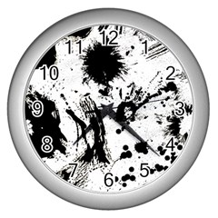Pattern Color Painting Dab Black Wall Clocks (Silver)