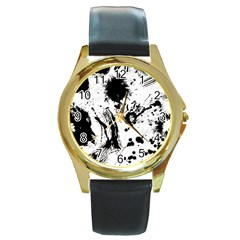 Pattern Color Painting Dab Black Round Gold Metal Watch
