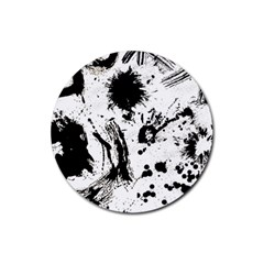 Pattern Color Painting Dab Black Rubber Coaster (Round)