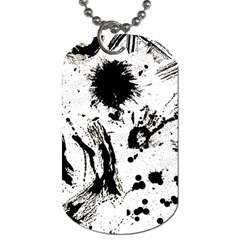Pattern Color Painting Dab Black Dog Tag (One Side)