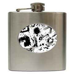 Pattern Color Painting Dab Black Hip Flask (6 oz)