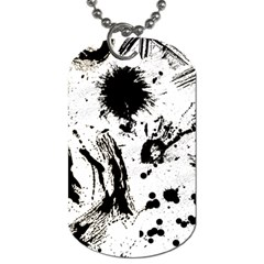 Pattern Color Painting Dab Black Dog Tag (Two Sides)