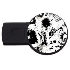 Pattern Color Painting Dab Black USB Flash Drive Round (2 GB)