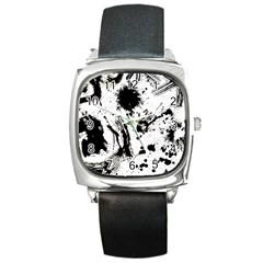 Pattern Color Painting Dab Black Square Metal Watch