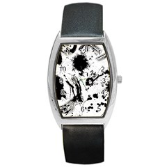 Pattern Color Painting Dab Black Barrel Style Metal Watch