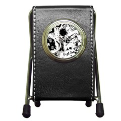 Pattern Color Painting Dab Black Pen Holder Desk Clocks