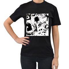 Pattern Color Painting Dab Black Women s T-Shirt (Black) (Two Sided)