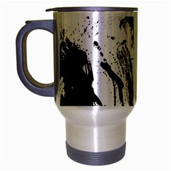 Pattern Color Painting Dab Black Travel Mug (Silver Gray)