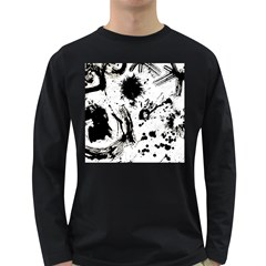 Pattern Color Painting Dab Black Long Sleeve Dark T-Shirts