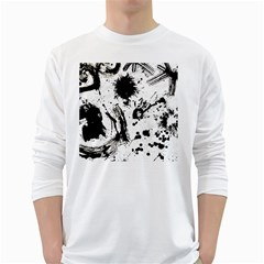 Pattern Color Painting Dab Black White Long Sleeve T-Shirts