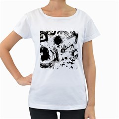 Pattern Color Painting Dab Black Women s Loose-Fit T-Shirt (White)