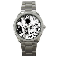 Pattern Color Painting Dab Black Sport Metal Watch