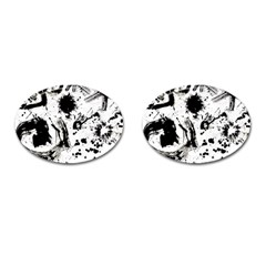 Pattern Color Painting Dab Black Cufflinks (Oval)