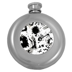 Pattern Color Painting Dab Black Round Hip Flask (5 oz)