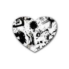 Pattern Color Painting Dab Black Heart Coaster (4 pack)