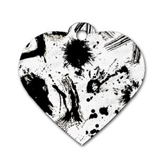 Pattern Color Painting Dab Black Dog Tag Heart (One Side)